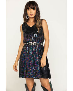Molly Bracken Women's Black Sequin Fit & Flare Dress, Black, hi-res