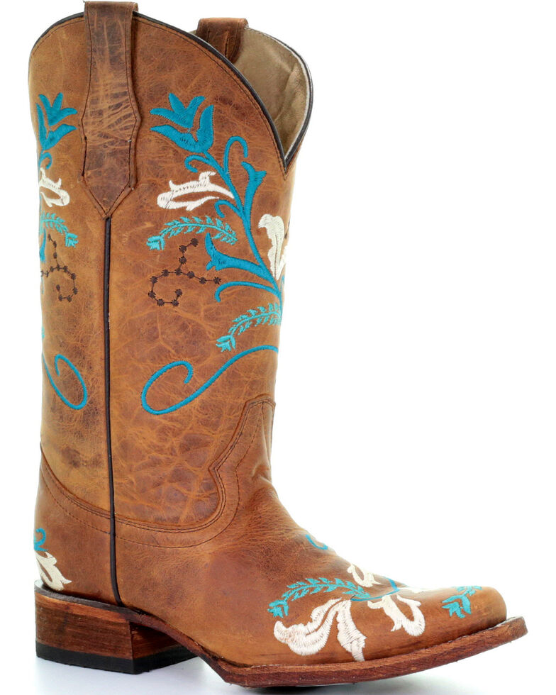 149a6a8404b Circle G Women's Turquoise Embroidered Cowgirl Boots - Square Toe