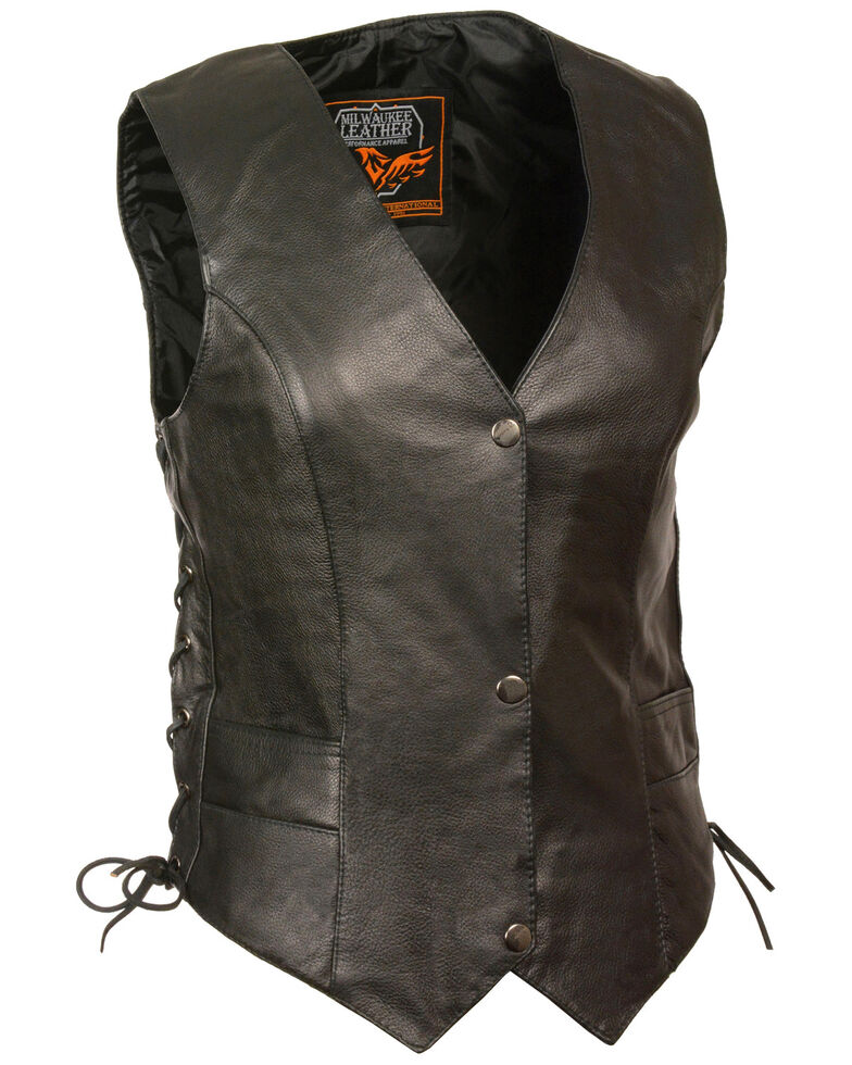 Milwaukee Leather Women's Classic Side Lace Vest, Black, hi-res