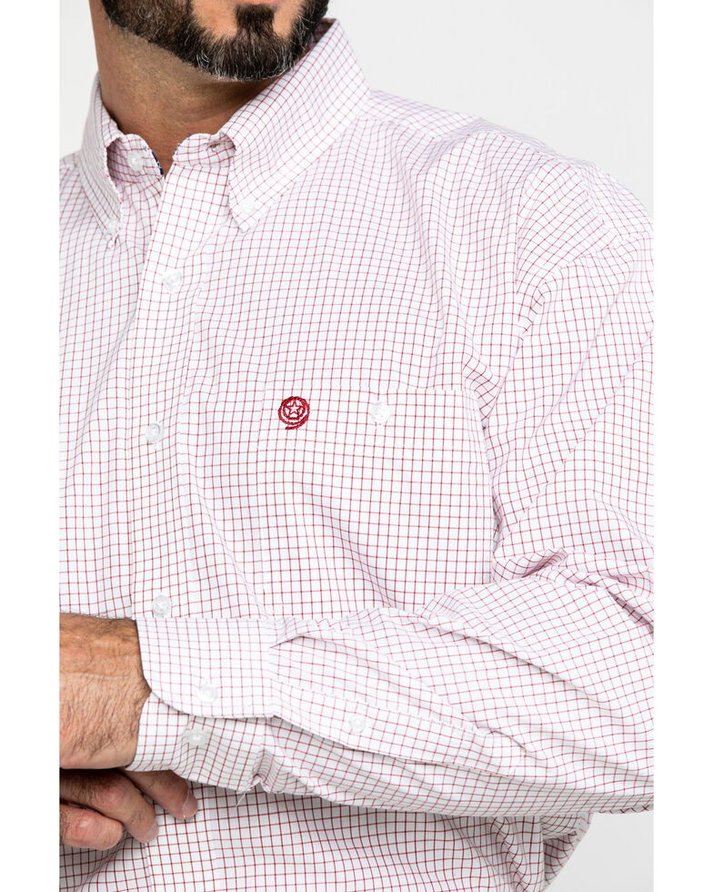 George Strait By Wrangler Men's Red Small Check Plaid Long Sleeve Western Shirt , Red, hi-res
