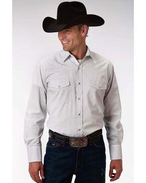 Roper Men's Printed Long Sleeve Shirt, White, hi-res