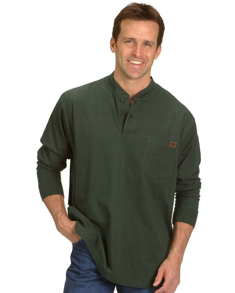Wrangler Riggs Men's Solid Henley Long Sleeve Work T-Shirt , Forest Green, hi-res