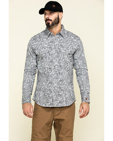 Rock & Roll Cowboy Men's FR Printed Paisley Twill Long Sleeve Work Shirt , Silver, hi-res