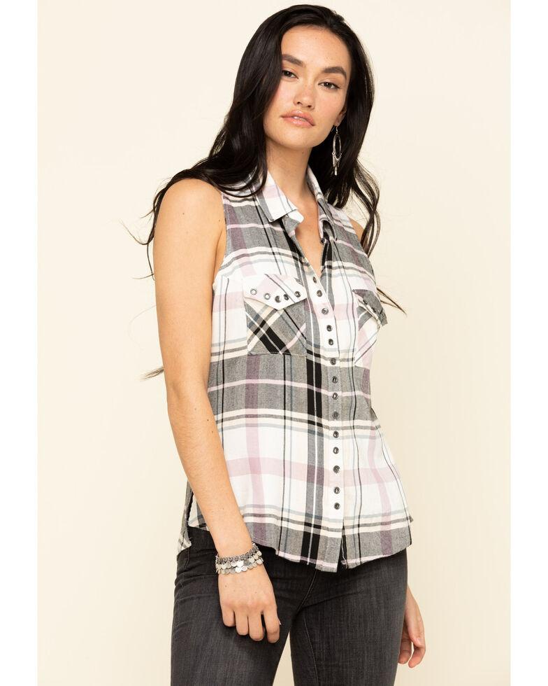 Shyanne Women's Light Purple Plaid Sleeveless Button Western Shirt, Light Purple, hi-res