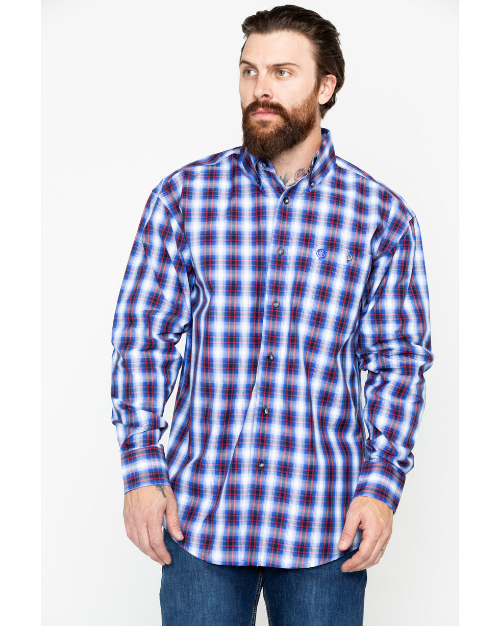 George Strait by Wrangler Men's Red Plaid Long Sleeve Western Shirt, Red, hi-res