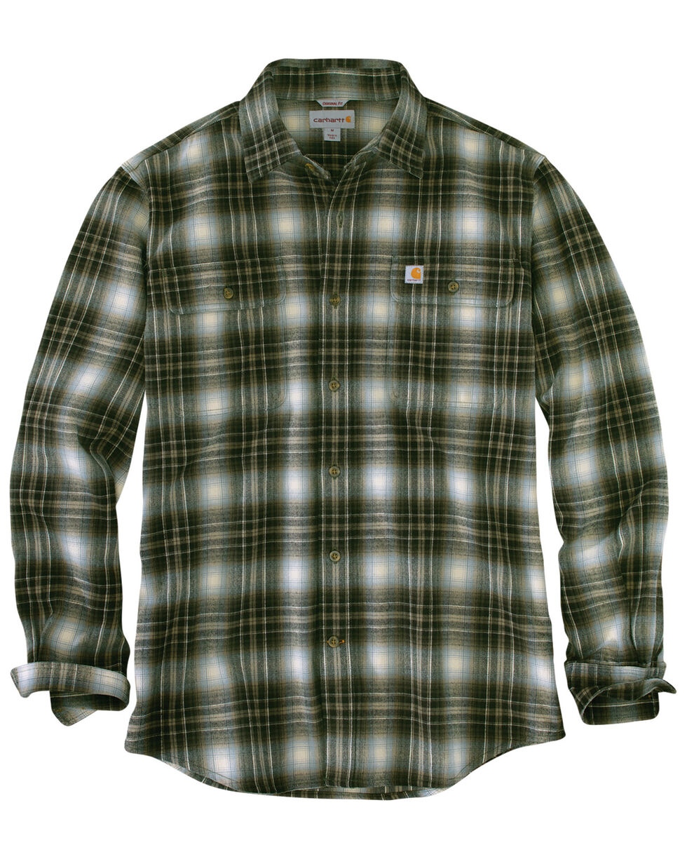 Carhartt Men's Hubbard Long Sleeve Plaid Flannel Work Shirt , Olive, hi-res