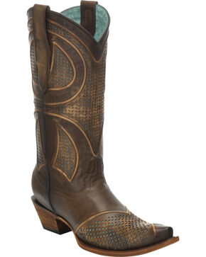 Corral Women's Distressed Laser-Cut Snip Toe Western Boots, Brown, hi-res
