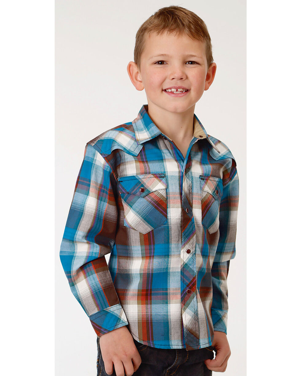 Roper Boys' Brown Long Sleeve Western Plaid Shirt , Brown, hi-res