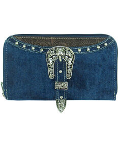 Savana Women's Embossed Trim Buckle Zip-Around Wallet, Blue, hi-res