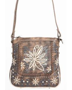 Shyanne Womens Fl Embroidered Crossbody Handbag Coffee Hi Res