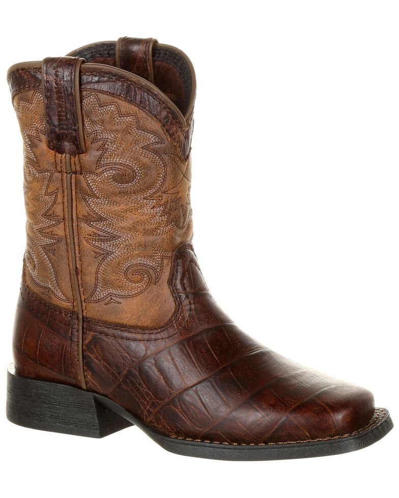 Durango Youth Boys' Lil' Mustang Faux Gator Western Boots - Square Toe, Chocolate, hi-res