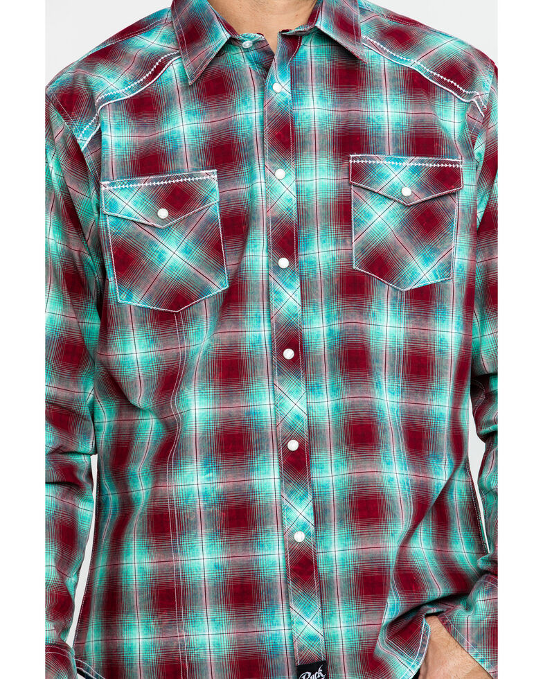 Rock 47 By Wrangler Men's Med Plaid Long Sleeve Western Shirt , Burgundy, hi-res