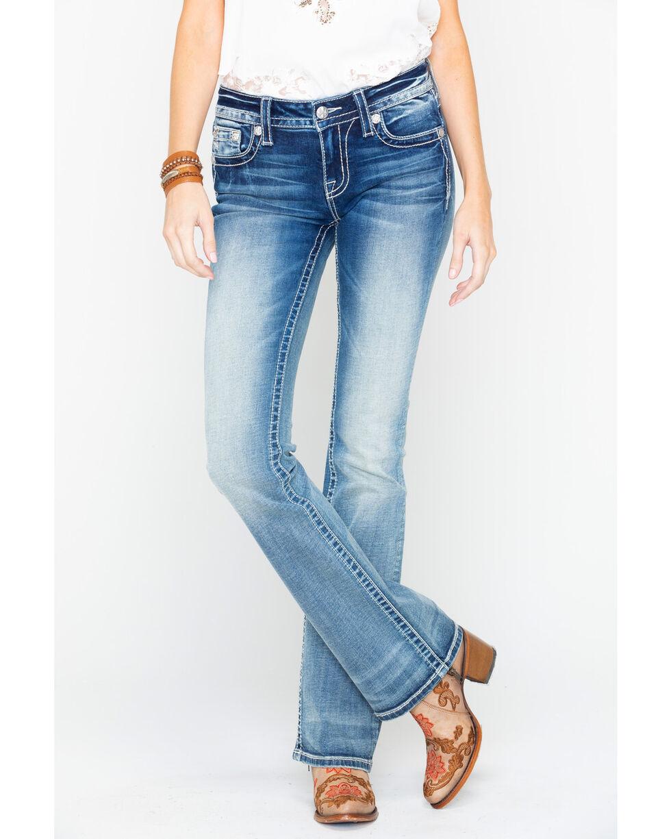 Miss Me Women's Floral Pocket Boot Cut Jeans, Indigo, hi-res