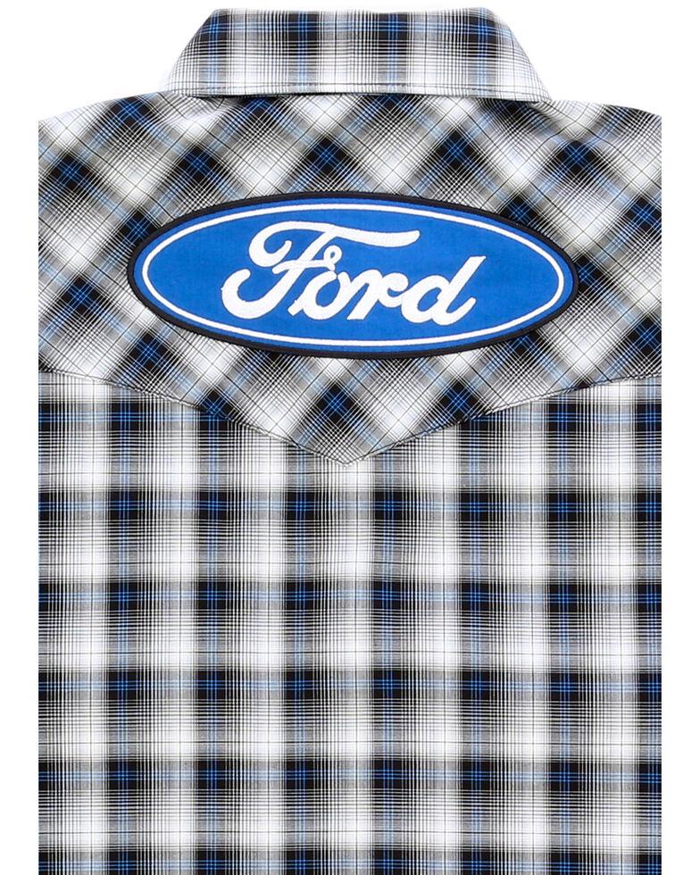 Wrangler Men's Ford Logo Multi Plaid Long Sleeve Western Shirt , Black, hi-res