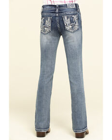 Grace in LA Girls' Light Wash Scattered Lines Bootcut Jeans, Blue, hi-res