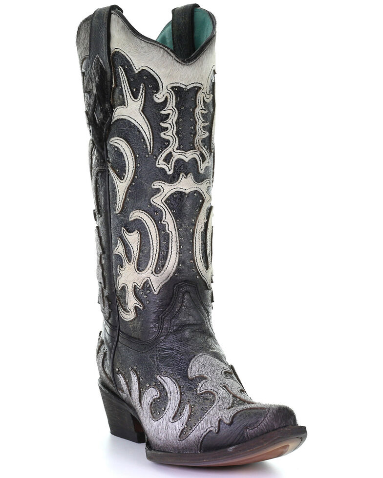 Corral Women's Grey Fur Overlay Western Boots - Snip Toe, Black, hi-res