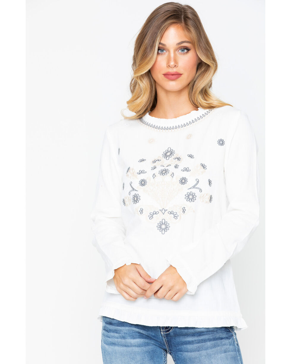 MI OH MI Women's Embroidered Natural Top , Cream, hi-res