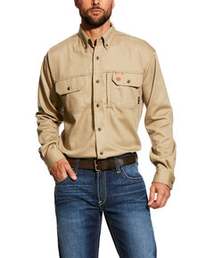 Ariat Men's FR Solid Vent Long Sleeve Work Shirt - Tall , Beige/khaki, hi-res