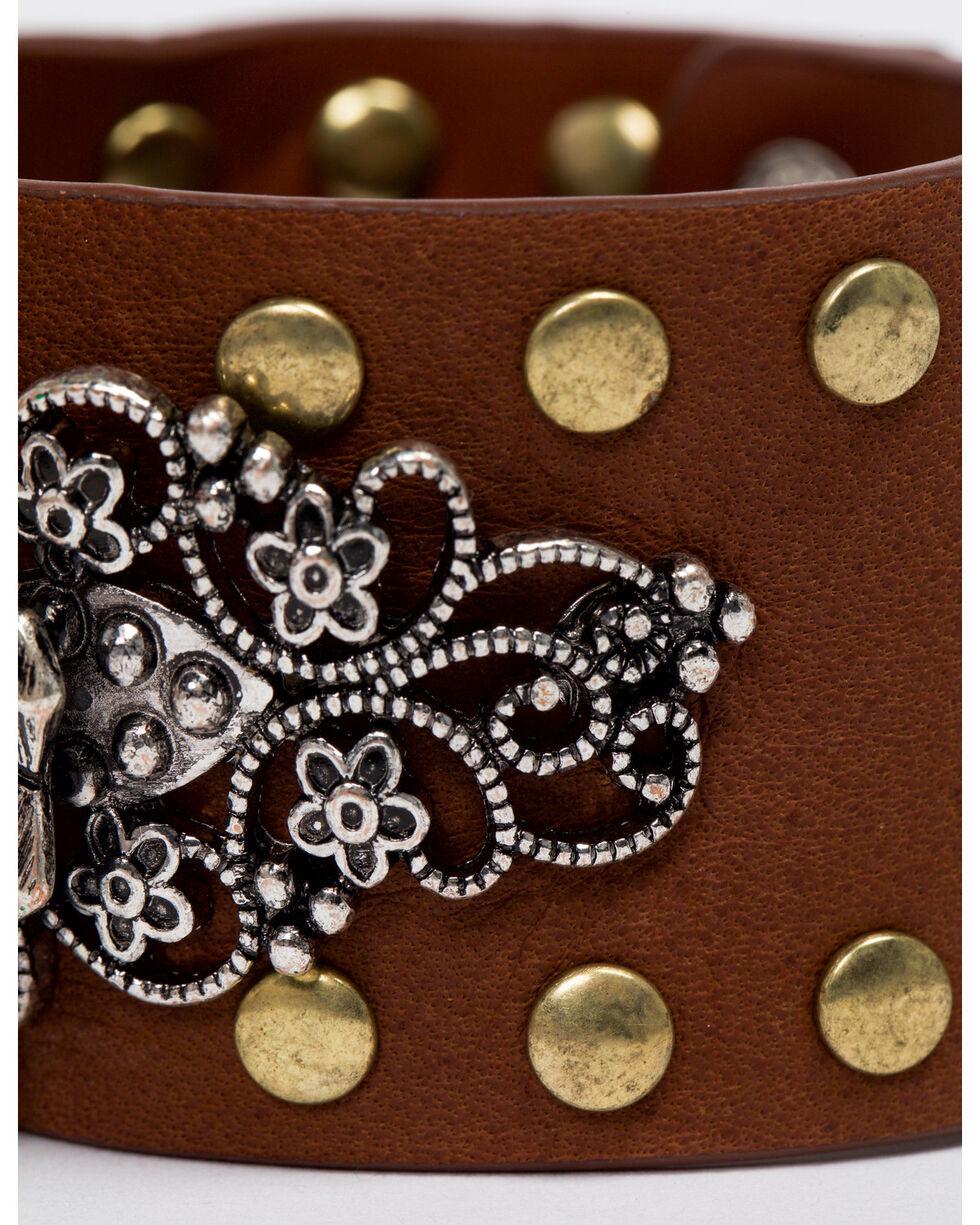Shyanne Women's Emma Rae Turquoise Fan Wide Leather Cuff, Brown, hi-res