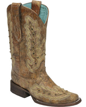 Corral Women's Metallic Square Toe Western Boots, Cognac, hi-res