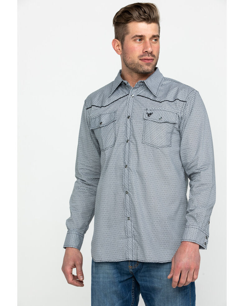 Cowboy Hardware Men's Brink Line Print Long Sleeve Western Shirt , Grey, hi-res