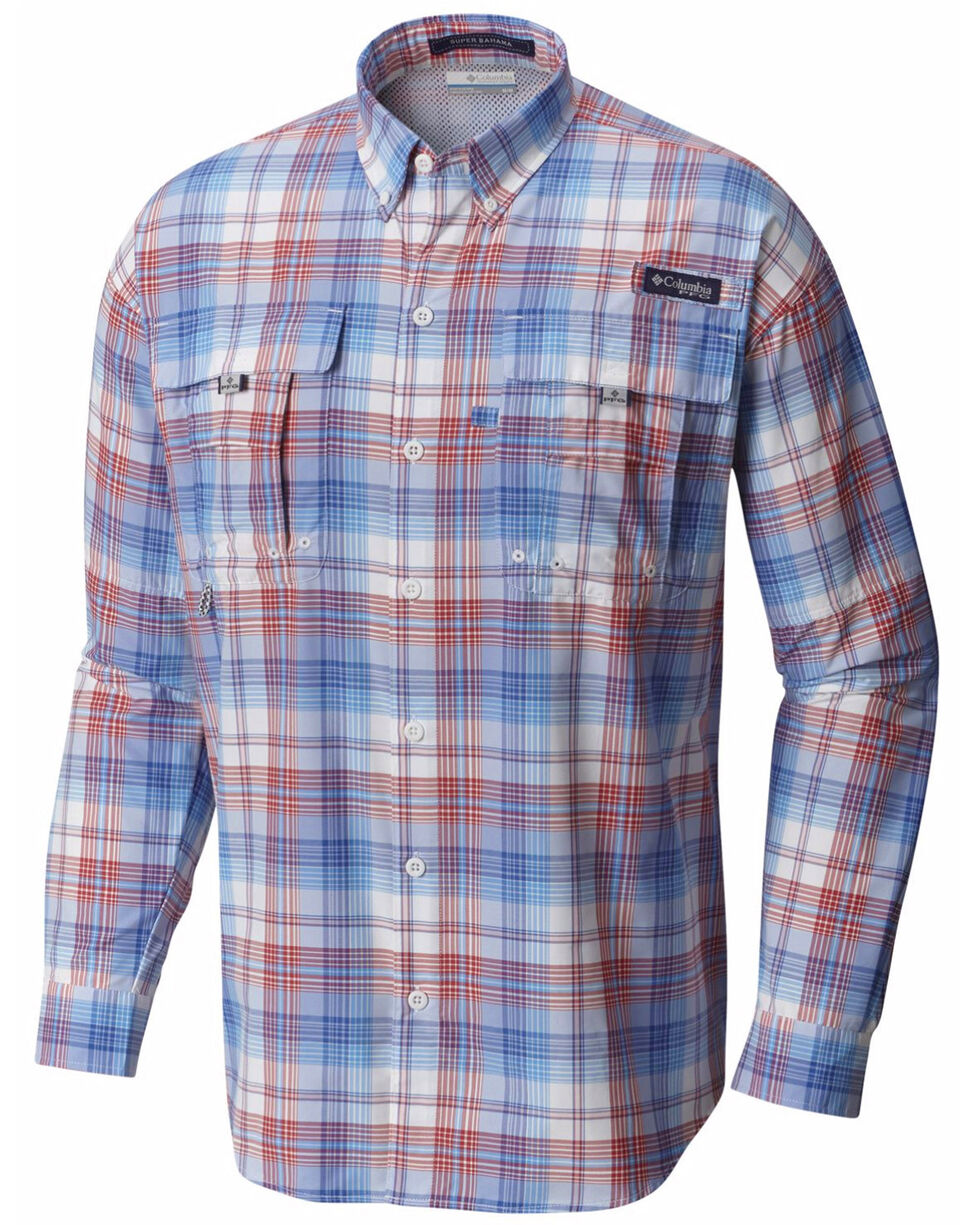 Columbia Men's Blue Super Bahama Long Sleeve Plaid Shirt , Blue, hi-res