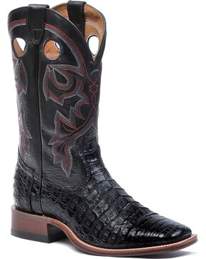 "Boulet Men's Exotic 12"" Caiman Square Toe Western Boots, Black, hi-res"