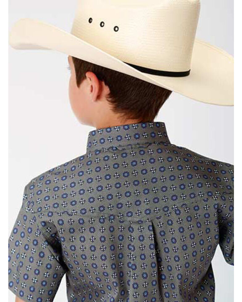 Roper Boys' Amarillo Moonshadow Foulard Geo Print Short Sleeve Western Shirt , Grey, hi-res