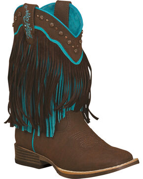 Blazin Roxx Girls' Candace Zipper Fringe Boots - Square Toe, Brown, hi-res