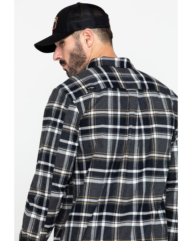 Hawx Men's Grey Berm Stretch Plaid Long Sleeve Flannel Work Shirt , Charcoal, hi-res