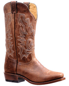 Boulet Men's Shaft Embroidery Western Boots - Snip Toe, Brown, hi-res