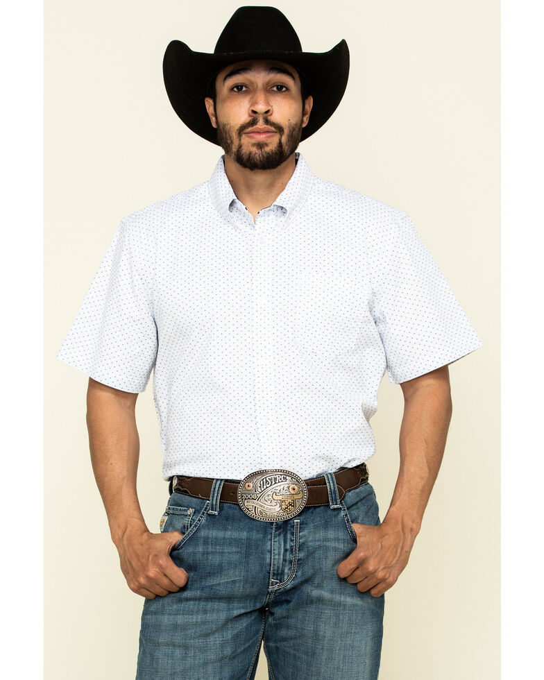 Cody James Core Men's Crossroads Geo Print Short Sleeve Western Shirt , White, hi-res