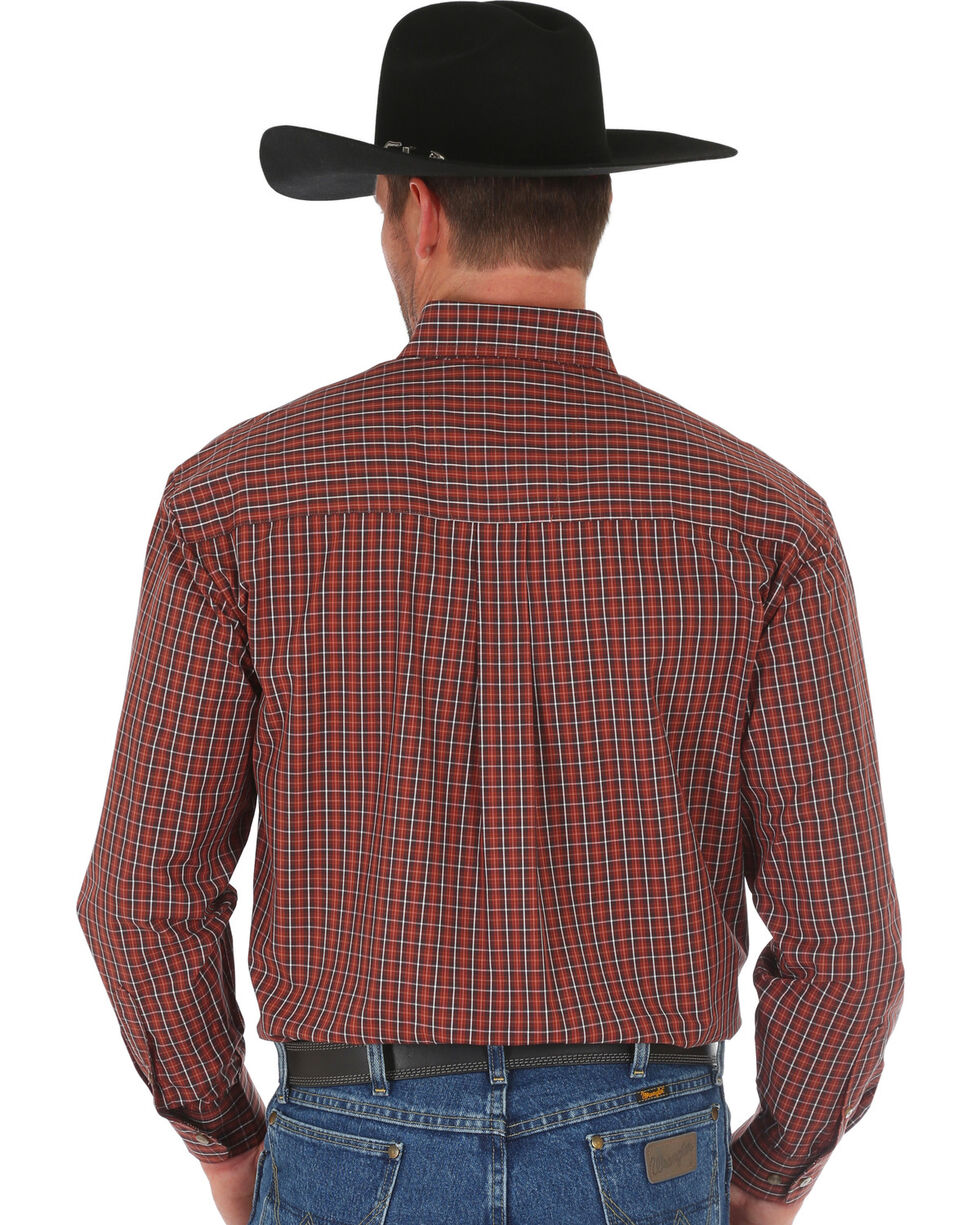 Wrangler George Strait Men's Brown Plaid Shirt , Brown, hi-res