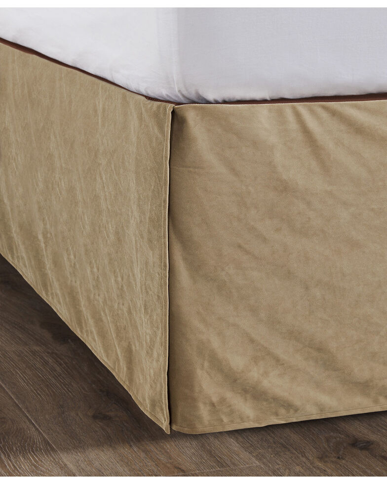 HiEnd Accents Queen Tan Velvet Bedskirt, Tan, hi-res