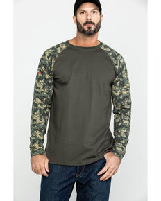 Ariat Men's Camo FR Baseball Long Sleeve Work Shirt , Camouflage, hi-res