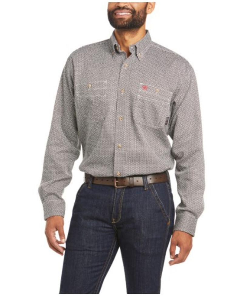 Ariat Men's FR Multi Geo Print Vented Long Sleeve Button-Down Work Shirt - Big & Tall, Multi, hi-res
