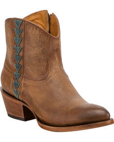 Lucchese Women's Chloe Geometric Overlay Western Booties - Round Toe, Tan, hi-res