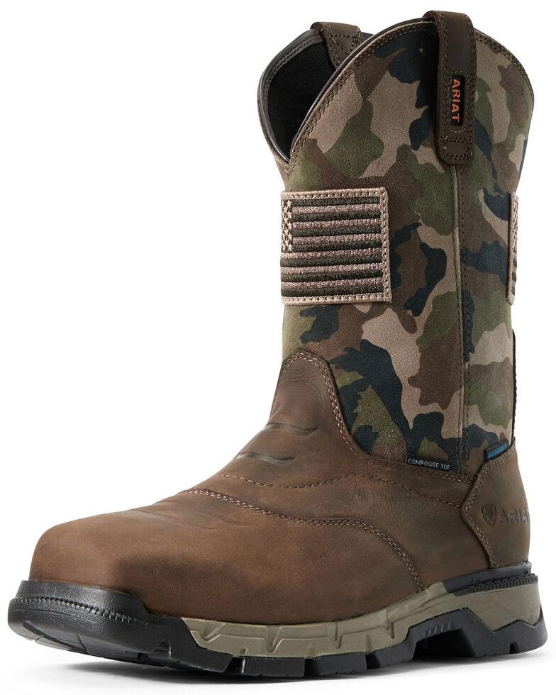 Ariat Men's Rebar Patriot Waterproof Western Work Boots - Composite Toe, Brown, hi-res