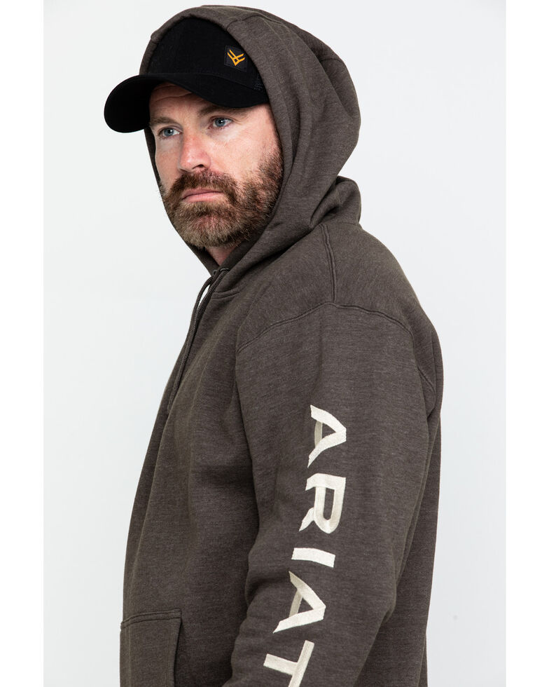 Ariat Men's Heather Bark Rebar Graphic Work Hooded Sweatshirt , Bark, hi-res