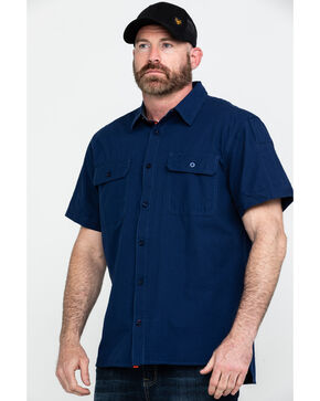 Hawx Men's Solid Yarn Dye Two Pocket Short Sleeve Work Shirt , Navy, hi-res