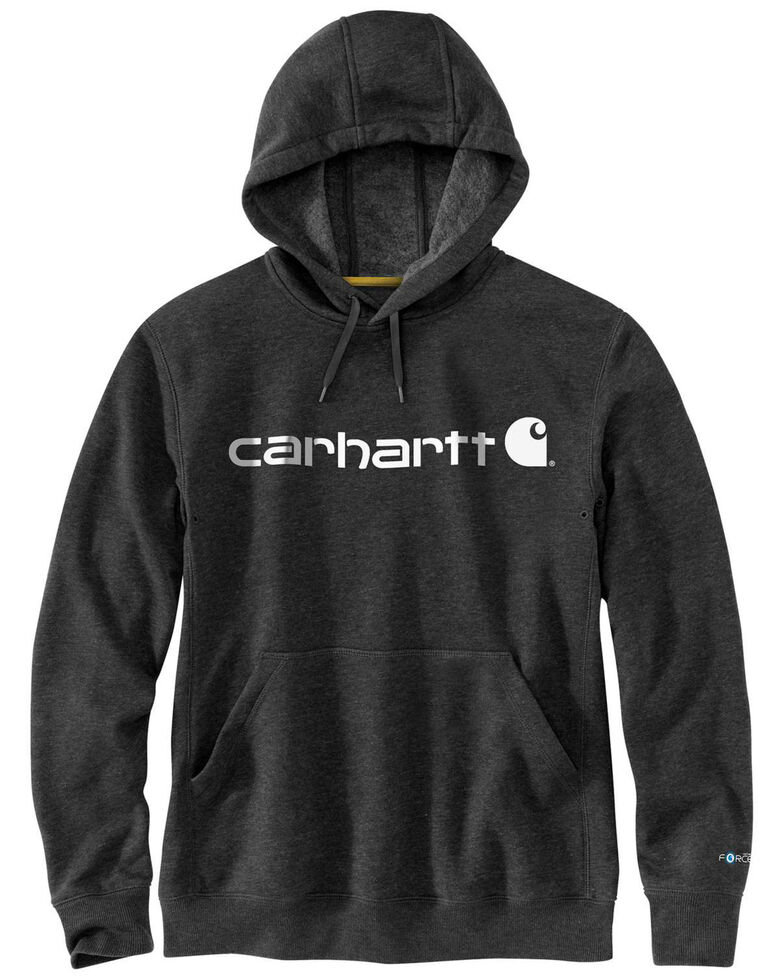 Carhartt Men's Black Force Delmont Signature Graphic Hooded Work Sweatshirt - Big , Black, hi-res