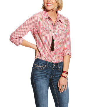 Ariat Women's R.E.A.L. Hibiscus Authentic Snap Western Shirt - Plus, Coral, hi-res