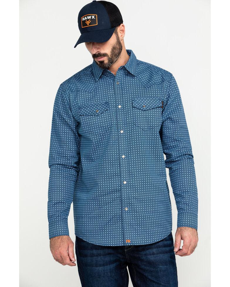 Cody James Men's FR Woven Plaid Long Sleeve Button-Down Work Shirt , Blue, hi-res