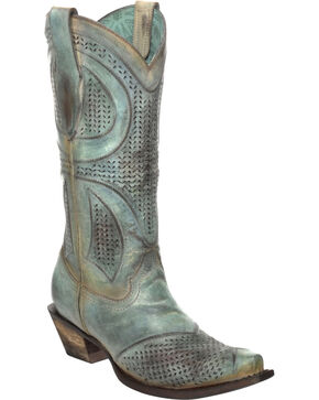 Corral Distressed Turquoise Laser-Cut Cowgirl Boots - Snip Toe, Turquoise, hi-res