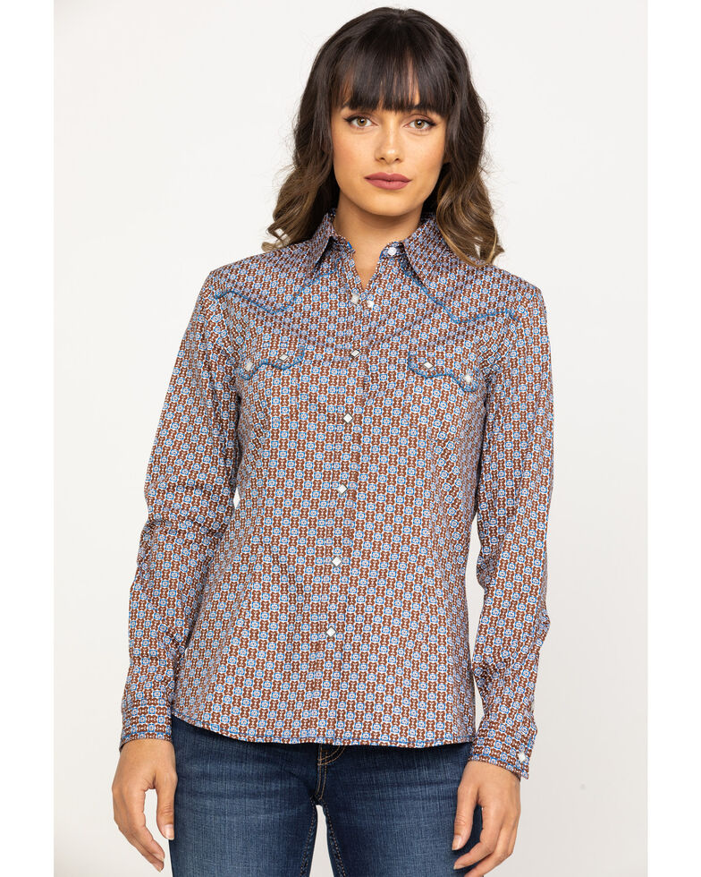 Rough Stock by Panhandle Women's Brown Geo Print Long Sleeve Shirt, Brown, hi-res