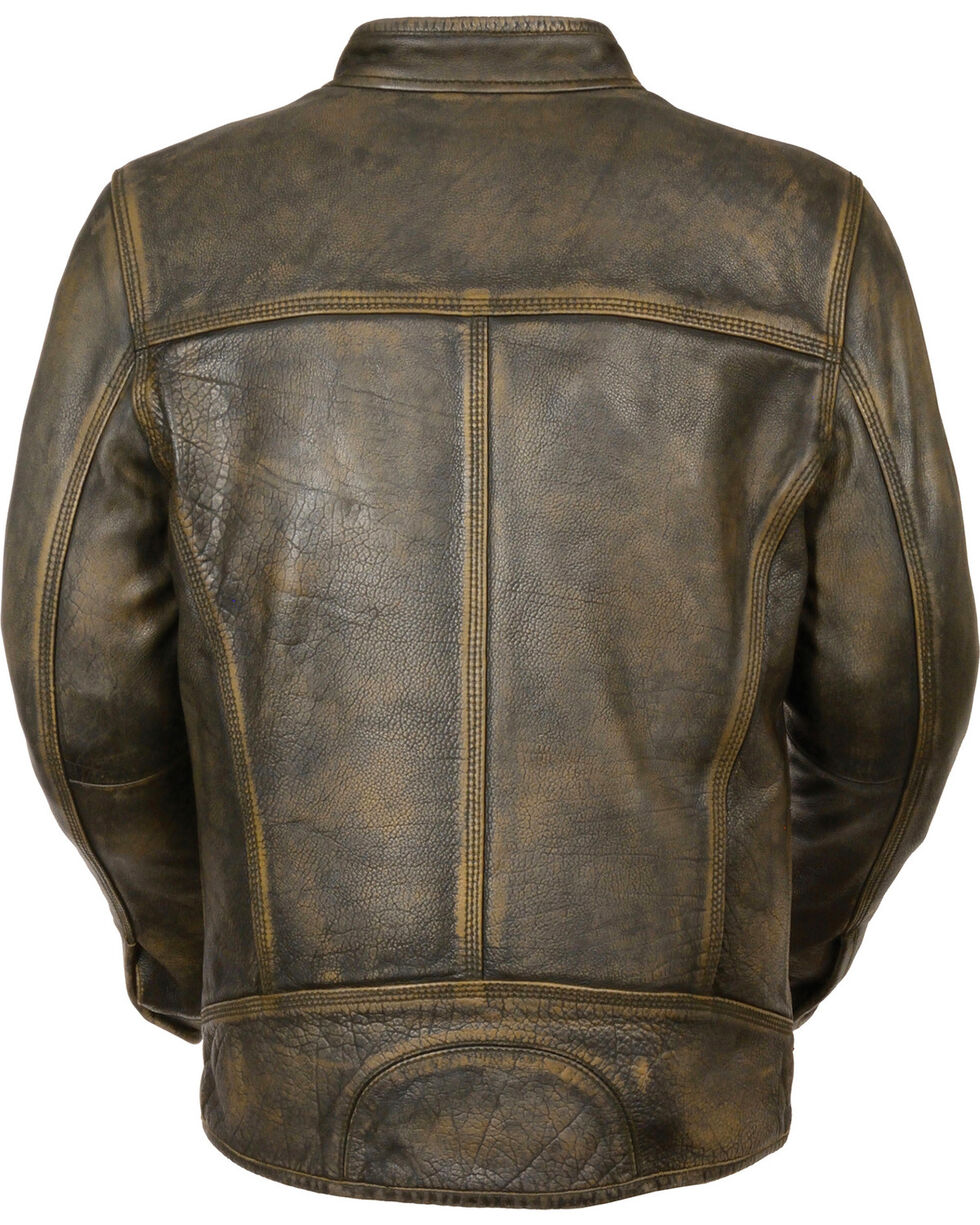 Milwaukee Leather Men's Brown Distressed Scooter Jacket w/ Venting , Black/tan, hi-res