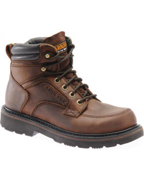 "Carolina Men's 6"" Broad Steel Toe Work Boots, Brown, hi-res"