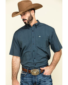 Cinch Men's Arena Flex Navy Geo Print Short Sleeve Western Shirt , Navy, hi-res