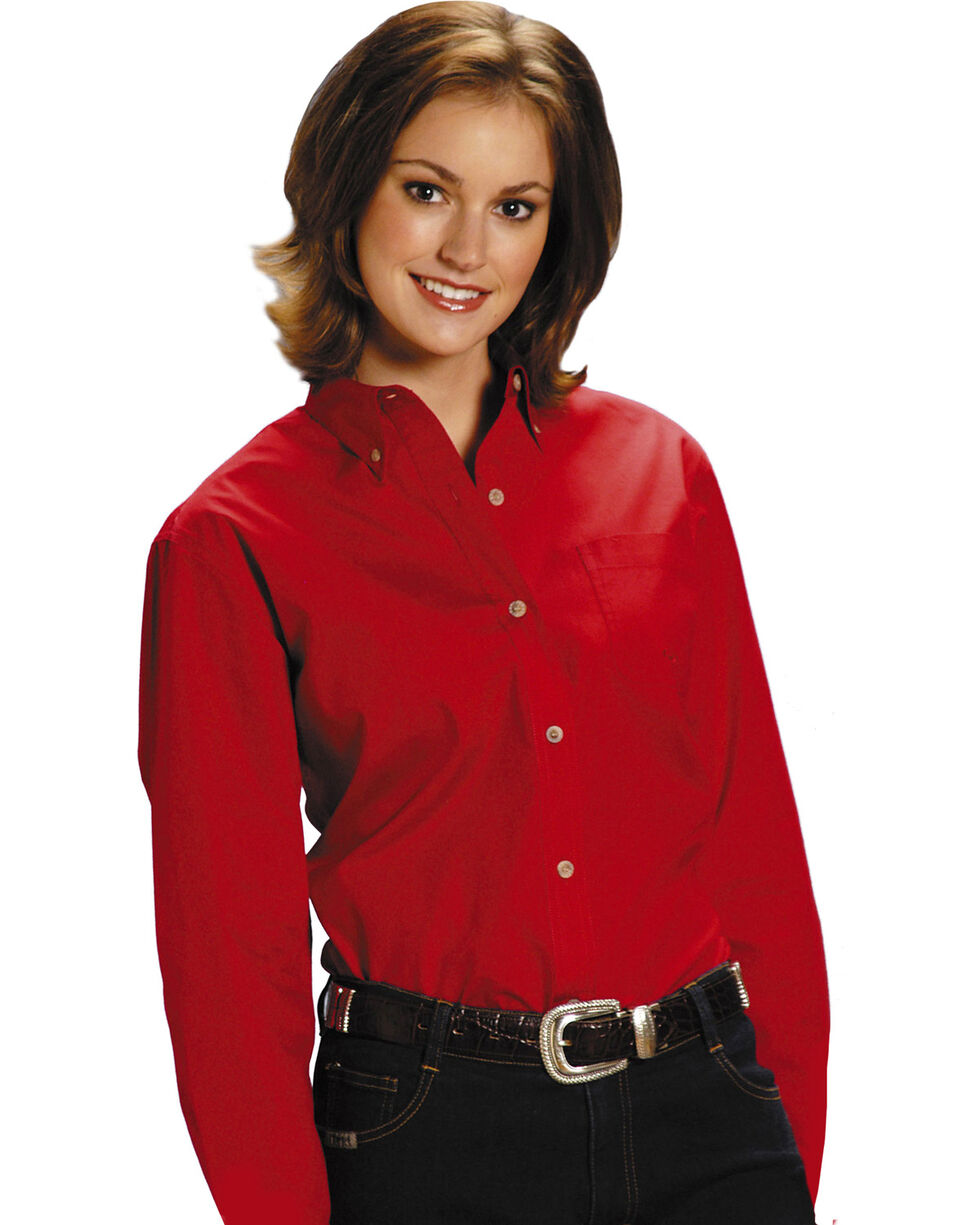 Roper Women's Amarillo Button Down Poplin Long Sleeve Western Shirt, Red, hi-res