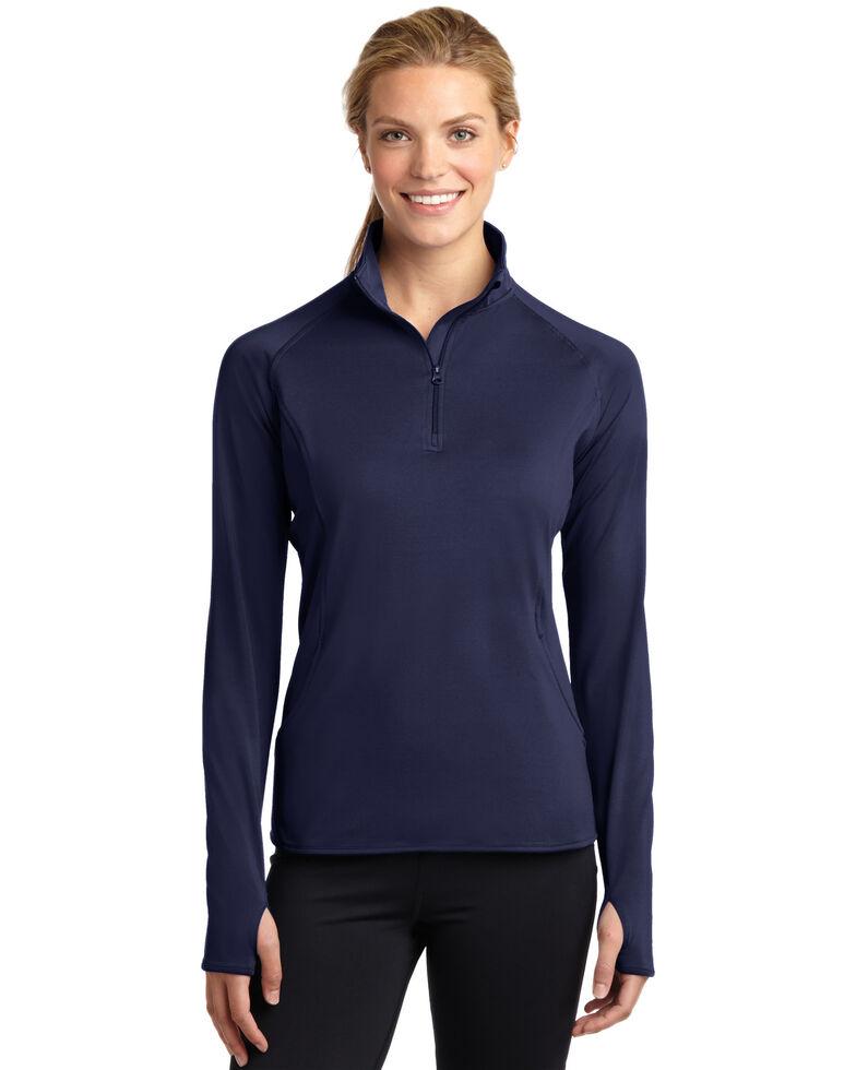 Sport-Tek Women's Navy 2X Sport-Wick Stretch 1/2 Zip Pullover - Plus, Navy, hi-res